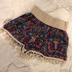 Anthropologie Patterned Tassle Printed Shorts